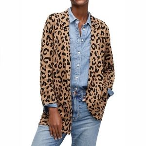 j.crew   sophie sweater blazer leopard xxs htf